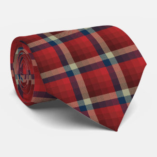 Crazy Check Plaid Red and Navy Two-Sided Tie