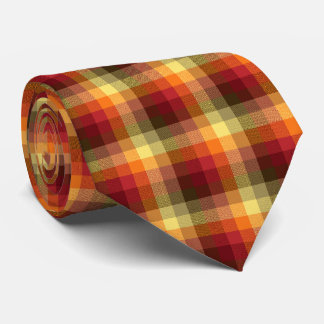 Crazy Check Plaid Red and Orange Two-Sided Tie