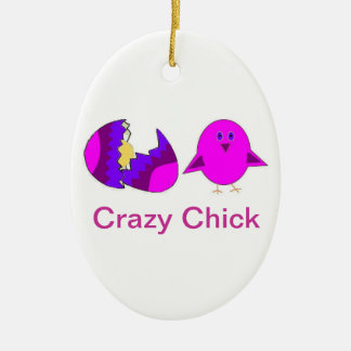 Crazy Chick Christmas Ornament