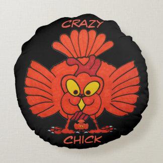 Crazy Chick Round Throw Pillow
