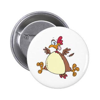 crazy chicken hen cartoon 6 cm round badge