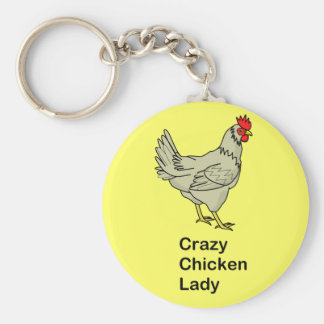 Crazy Chicken Lady Basic Round Button Key Ring