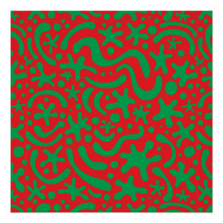 Crazy Christmas Blob and Squiggle Pattern Poster