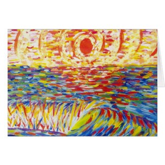 crazy color sunset greeting card