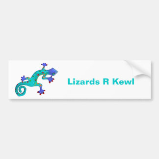Crazy Colorful Lizard Bumper Sticker