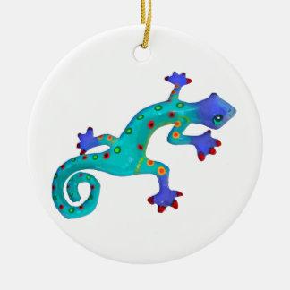 Crazy Colorful Lizard Round Ceramic Decoration