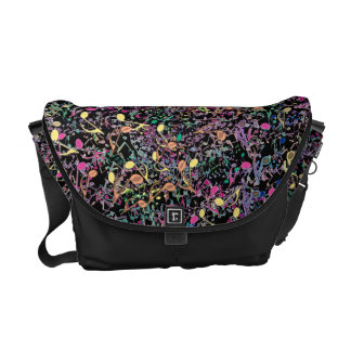 Crazy Colorful Rainbow Notes Music Messenger Bag