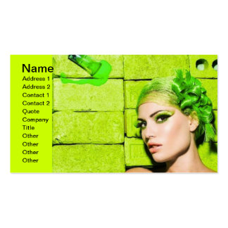 crazy_colors_1 Green Fashion Model beauty style Business Card Template