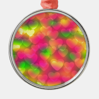 Crazy Colors Hearts Bokeh ROUND ORNAMNET Silver-Colored Round Decoration