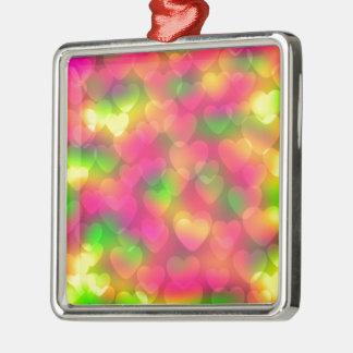 Crazy Colors Hearts Bokeh Sq Ornament