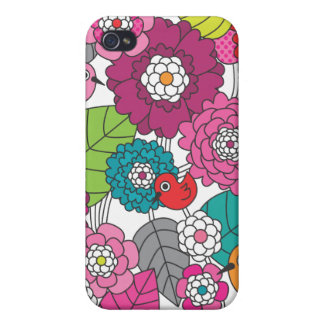 Crazy colourfull flowers and birds pattern iphone iPhone 4 case