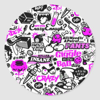 Crazy  Combo Round Sticker