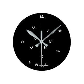 Crazy Cool Black Jumbled Hours Custom Name Kids Round Clock