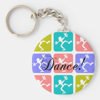 Crazy cool dance basic round button key ring
