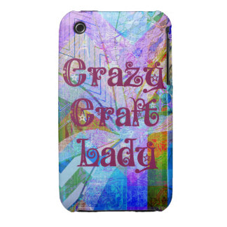 Crazy Craft Lady Blue Purple Butterfly Chevron Col iPhone 3 Case-Mate Case