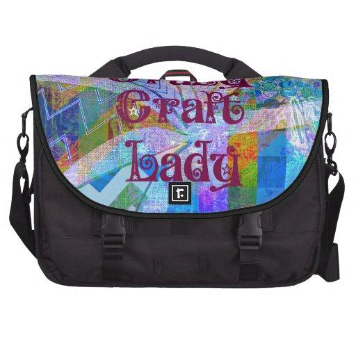 Crazy Craft Lady Blue Purple Butterfly Chevron Col Laptop Commuter Bag