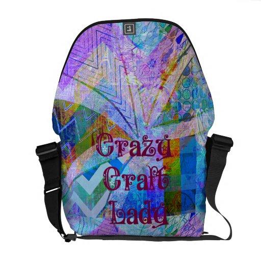 Crazy Craft Lady Blue Purple Butterfly Chevron Col Messenger Bag