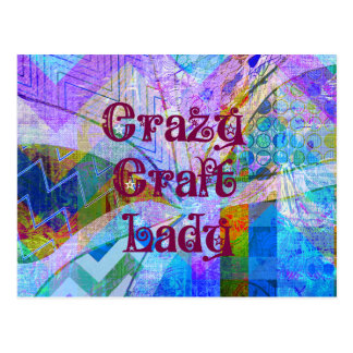 Crazy Craft Lady Blue Purple Butterfly Chevron Col Postcard