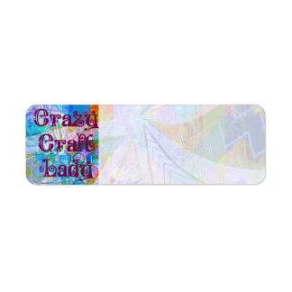 Crazy Craft Lady Blue Purple Butterfly Chevron Col Return Address Label