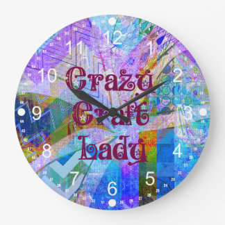 Crazy Craft Lady Blue Purple Butterfly Chevron Col Wall Clocks