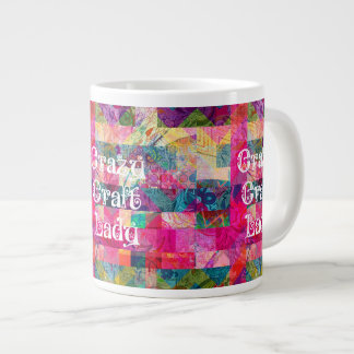 Crazy Craft Lady Colorful Pattern Vibrant Crafting Large Coffee Mug