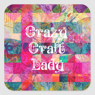 Crazy Craft Lady Colorful Pattern Vibrant Crafting Sticker