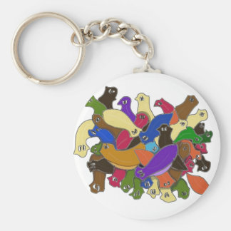 Crazy Cross Eyed Planarian Worms Design 2 Key Ring
