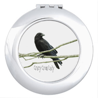 Crazy Crow Lady Compact Mirror