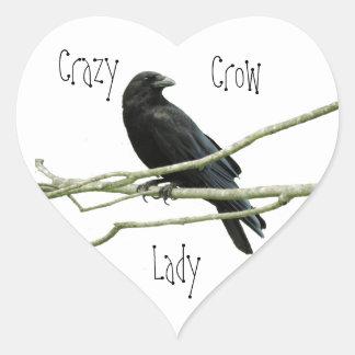 Crazy Crow Lady Heart Sticker