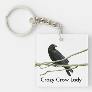 Crazy Crow Lady Keychain