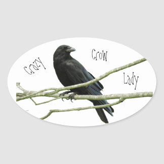Crazy Crow Lady Oval Sticker