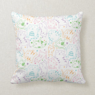Crazy Cute Cats Colorful Cartoon Pattern Gift Cushion