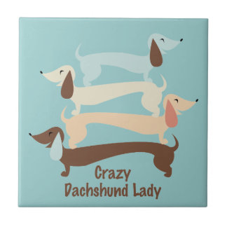 Crazy Dachshund Lady Tile