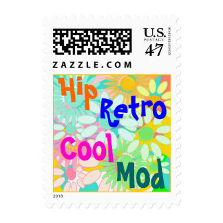 Crazy Daisy Daisies Retro 1960s Style Floral Stamp