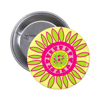 Crazy Daisy Flower Button Yellow, Lime & Pink