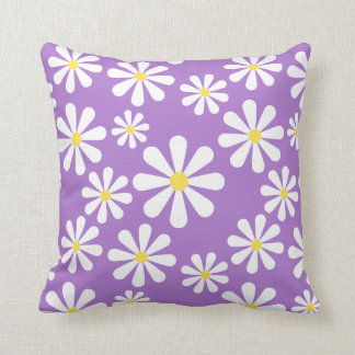 Crazy Daisy Purple White Yellow Floral Throw Cushion