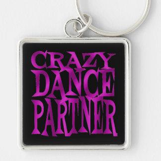 Crazy Dance Partner in Fuschia Silver-Colored Square Key Ring