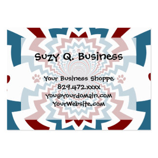 Crazy Dog Lover Paw Prints Red Blue Pattern Large Business Cards (Pack Of 100)