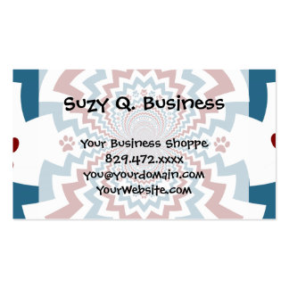 Crazy Dog Lover Paw Prints Red Blue Pattern Double-Sided Standard Business Cards (Pack Of 100)