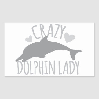 Crazy Dolphin Lady Rectangular Sticker