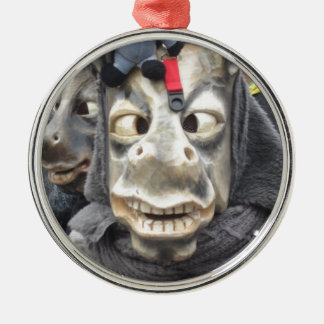 Crazy Donkey Mask Silver-Colored Round Decoration