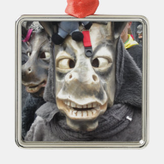 Crazy Donkey Mask Silver-Colored Square Decoration