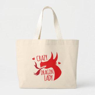 Crazy Dragon Lady Large Tote Bag