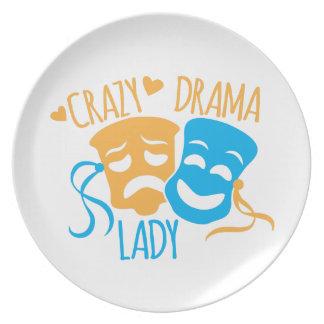 Crazy DRAMA Lady Party Plates