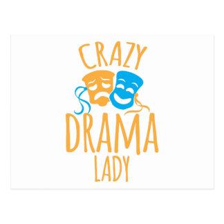 crazy drama lady postcard