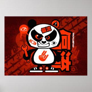 Crazy Drift Patrol - Aggressive Panda (red) Poster