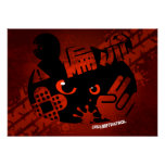 Crazy Drift Patrol - Aggressive Panda Silhouette Poster