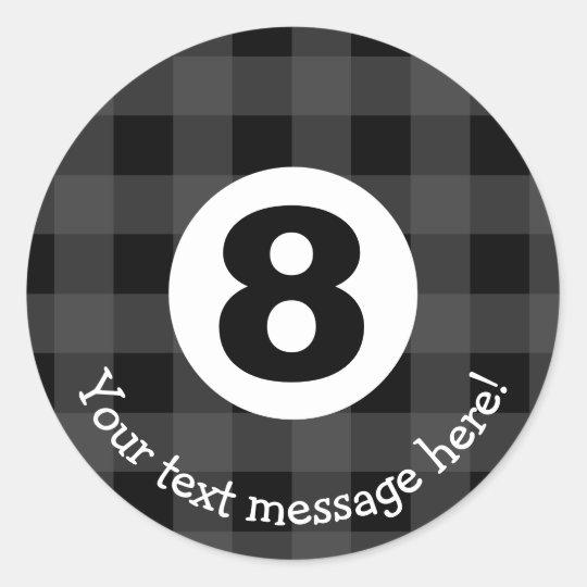 Crazy Eight Billiard Ball Icon Classic Round Sticker