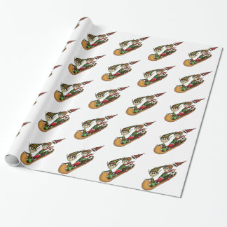 Crazy Elf Sled Ride Gift Wrapping Paper