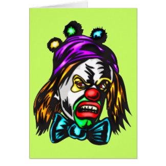 Crazy Evil Clown Greeting Card
